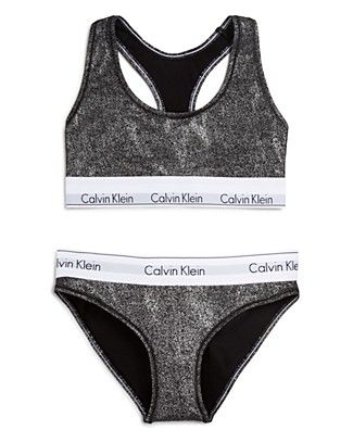 A Gift for the Barre-ista… Coated with festive high shine metallic, Calvin Klein Underwear's sporty-chic Modern Cotton set is perfect as a gift …