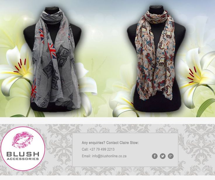 Brighten up your outfit with these fun #scarves at #Blush stores. Available in various colours and prints to suit all styles. #Fashionitas