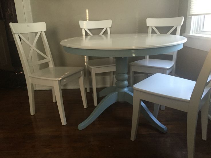 Painted Round IKEA Kitchen Table  Blue and white painted kitchen table   Sherwin Williams Teal60 best Paint I have Done images on Pinterest   Master bedroom  . Teal Painted Kitchen Table. Home Design Ideas
