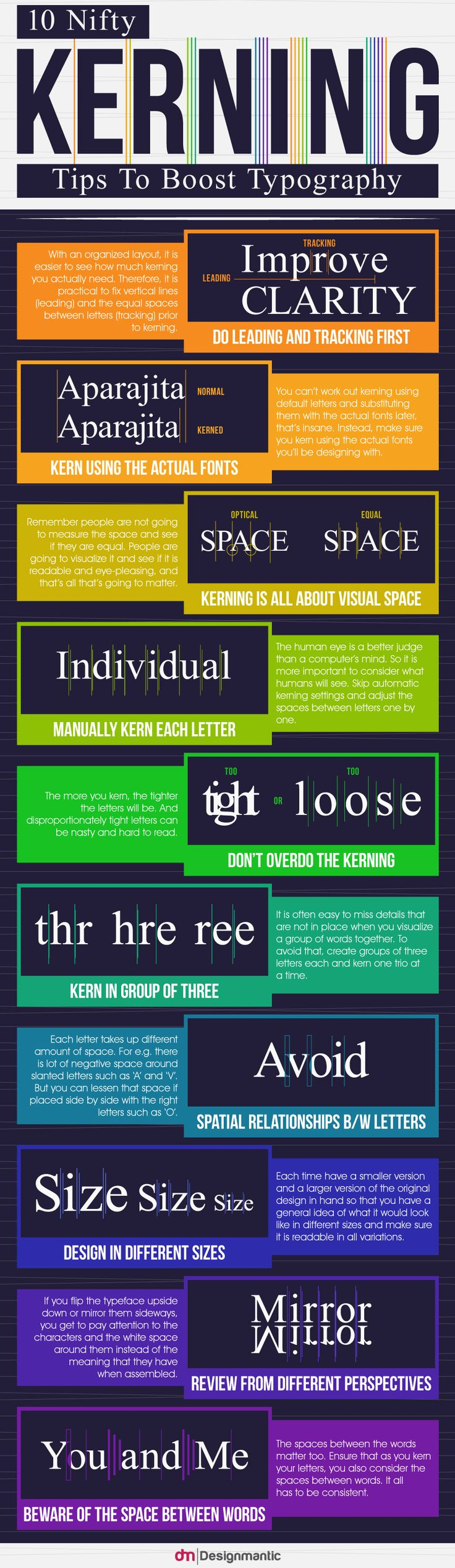 10 Nifty Kerning Tips To Boost Typography   http://www.designmantic.com/blog/infographics/10-kerning-tips-to-boost-typography/