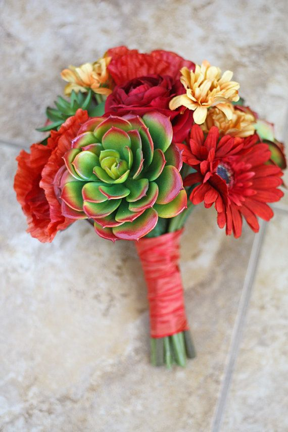 Southwestern Succulents Wedding Bouquet - Red, Orange, Yellow Green Artificial Small Bridal Bouquet on Etsy, $95.00