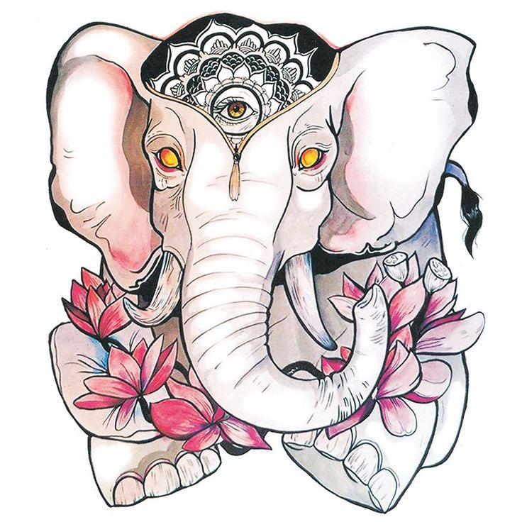 Минимальный заказ $ 5 водонепроницаемый временные татуировки наклейки милый слон король розовый цветы лотоса дизайн боди арт составляют инструмент купить на AliExpress