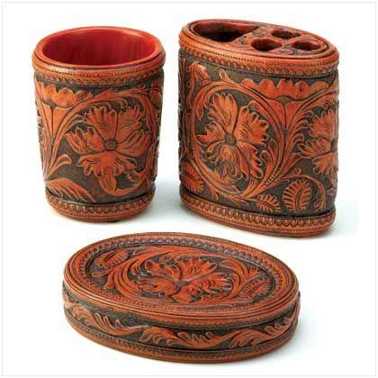 Western Leather Tooled Look Bath Set 3 Pcs. $21.95  http://www.horseafide.com/catalog/item/7233998/7848950.htm