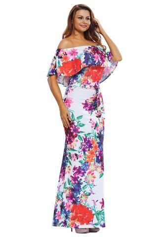 Robes Maxi Multi-couleur Fleur Imprime Epaules Denudees