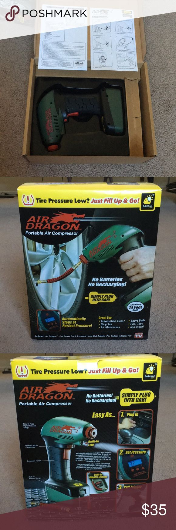 Portable Air Compressor – Great For: Automobile Tires, Bicycles, Air Mattresses,…