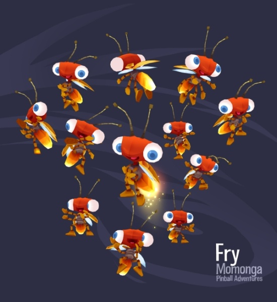 Fry the Firefly fully rigged in-game model #CharacterDesign #Gamedesign #MomongaPinballAdventures