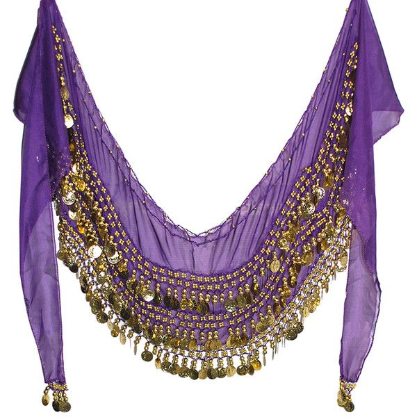 1X 4X Plus Size Chiffon Belly Dance Hip Scarf with Coins PURPLE GRAPE... ($15) ❤ liked on Polyvore featuring accessories, scarves, chiffon shawl, gold shawl, purple shawl, chiffon scarves and belly dancing scarves