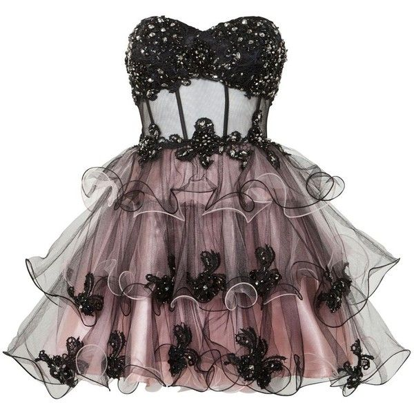 Ruby Prom Black Layered Prom Dress found on Polyvore featuring polyvore, fashion, clothing, dresses, vestidos, short dresses, formal dresses, tiered ruffle dress, night out dresses and going out dresses