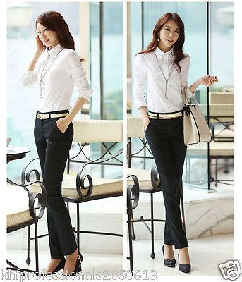 LADIES TAILORED CORPORATE TROUSER  PENCIL LEG PANTS New Style BLACK AND CREAM