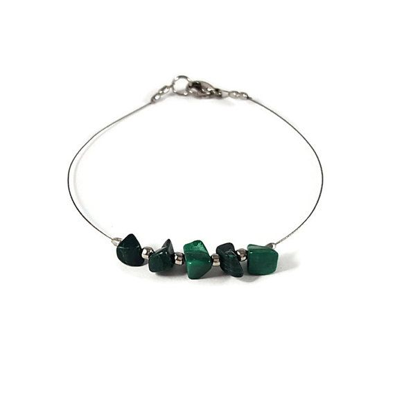 """✿ In the """"Shiny"""" #Jewelry, you will find #dainty #silver #bracelet adorned with #Malachite (#natural #gemstone) and silvery #beads.  ☯ Malachite symbolizes creativity and change.   #etsy #shop #seller #stone #women #gift  https://www.etsy.com/listing/455084264/silver-bracelet-malachite-bracelet"""
