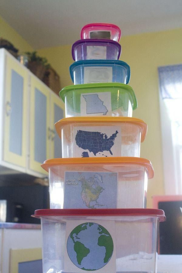 Use tupperware to illustrate social studies concept of world, continent, country, state, city. Adaptable to all subjects.
