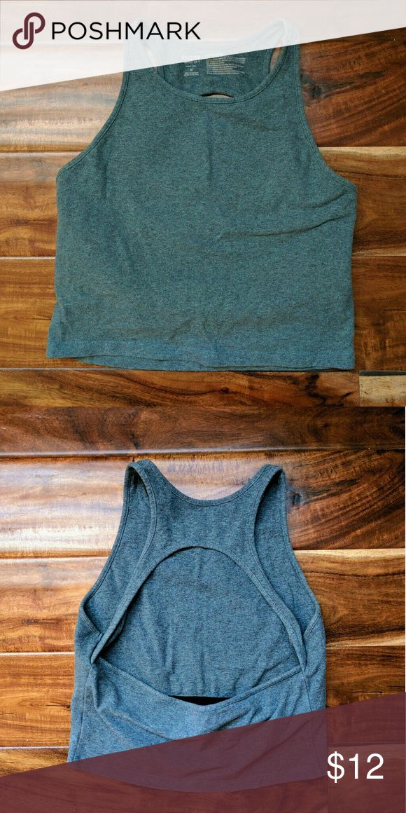 Bridge back top - heather green Function meets fashion with this Heather green bridge back mid drift. A built in bra gives you comfort and support without sacrificing style. Mossimo Supply Co Tops Crop Tops