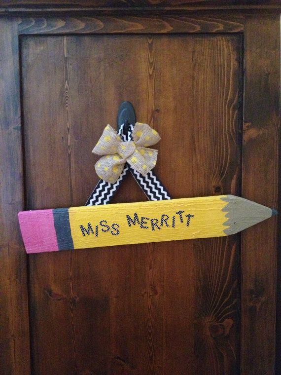 "Pencil Teacher Name Sign 18""-teacher gift- Christmas present for teacher"