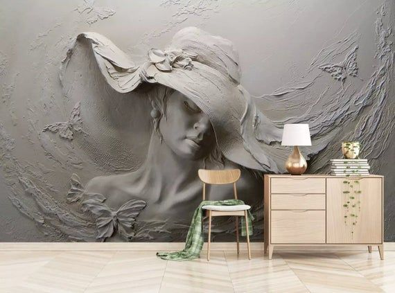 3d Women Poster, Removable & Prepasted Wallpaper  Relief Beautiful Girl Wall , Wall Art Wallpaper