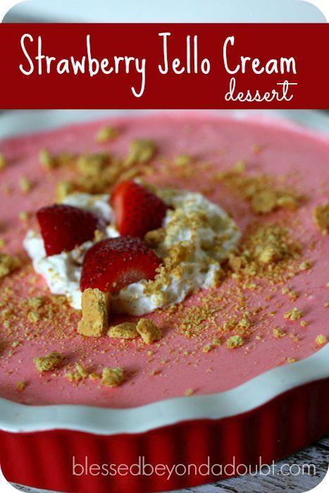 Super easy strawberry jello cream dessert. Make this and you will score. It's so fluffy and light!
