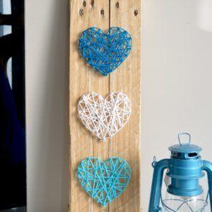 string art coeur palette bois