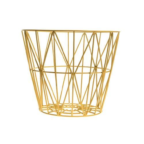 "Small wire basket 15"" wide x 13.5"" tall $85.  Comes in a variety of colors: black, white, rose, blue, yellow.  Could be good for organizing balls in front hall closet?"
