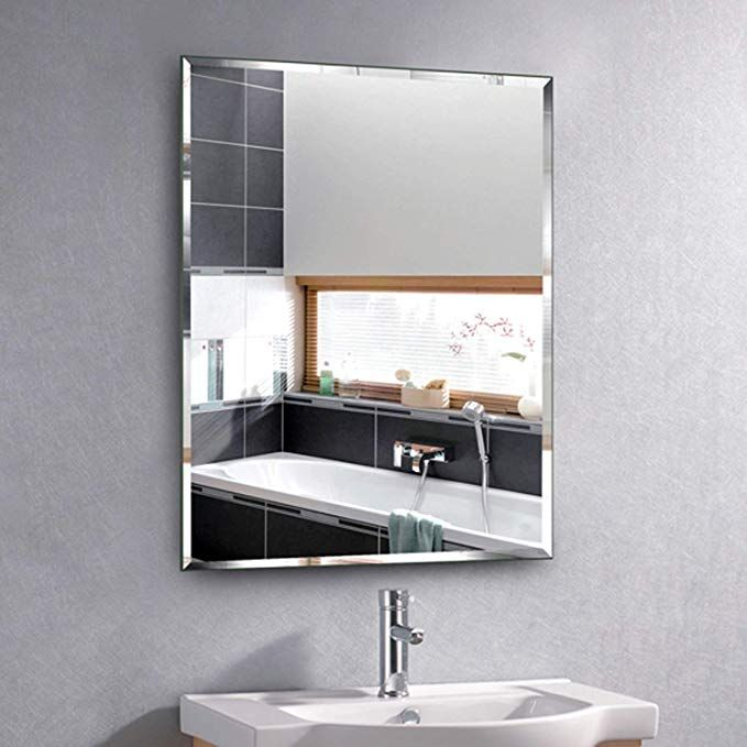 Amazon Com Hans Alice Beveled Bathroom Mirrors Wall Mounted Modern Frameless Mirror For Bathroom Mirror Wall Bathroom Apartment Closet Doors Bathroom Mirror