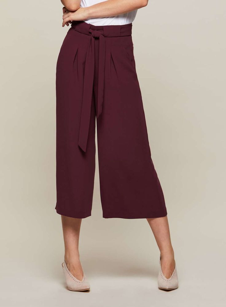 J2017  Burgundy Cropped Wide Leg Trousers