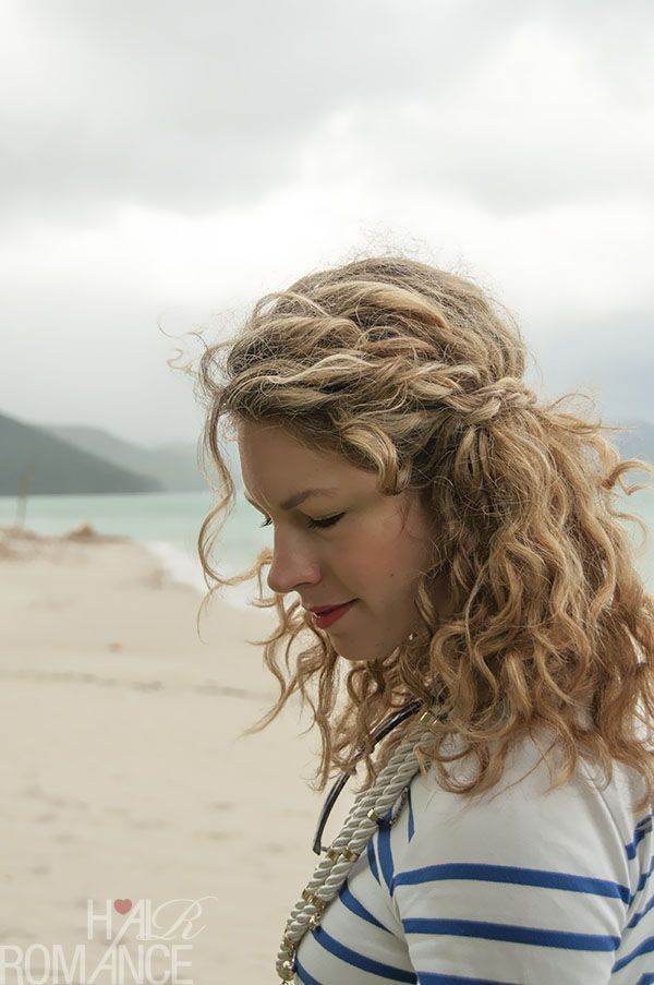 hair styles easy 2 min hairstyle half crown braid in curly hair 2256
