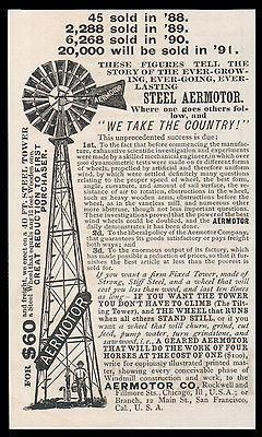 paperink id: ads5090s Windmill Steel Aermotor AD 1891 Does Work of Four Horses Durable Economical ORIGINAL Period Magazine Advertisement. Small Ad measures app