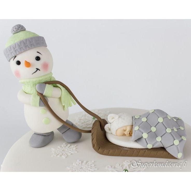 Lumiukko ja vauva koriste  www.supekonditoria.fi