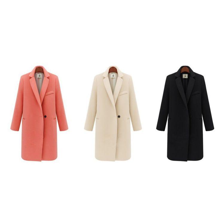 Women's Winter Jackets and Coats Single Button Elegant Warm Women Woolen Coat…