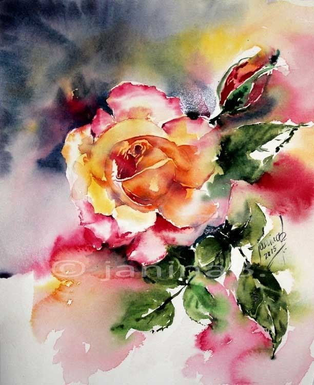 2 rose aquarell 24x30cm aquarell blumen pinterest rosen. Black Bedroom Furniture Sets. Home Design Ideas
