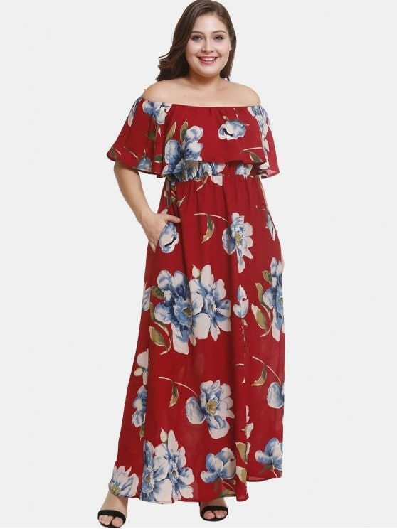 88f87b703e07 Off Shoulder Plus Size Flower Print Dress - RED WINE 4X