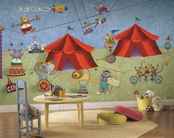 Big top circus funny cartoon character wallpaper mural for for Character mural