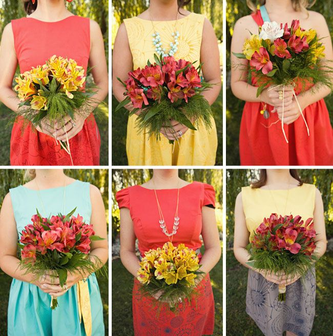 although gorgeous, this is much too much color for their theme HOWEVER this is proof that subtly mismatched bridesmaids can be beautiful.
