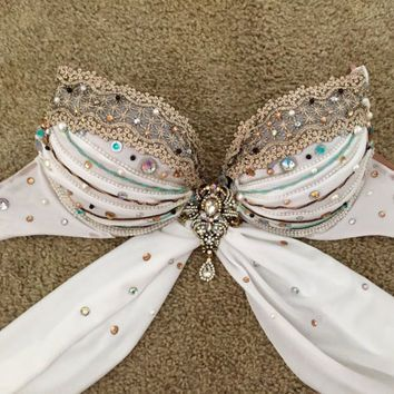 White Rave Bra FREE SHIPPING (Greek goddess, princess warrior, khaleesi, Queen of the Nile, Halloween, Daenerys Targaryen, EDC, Rave)