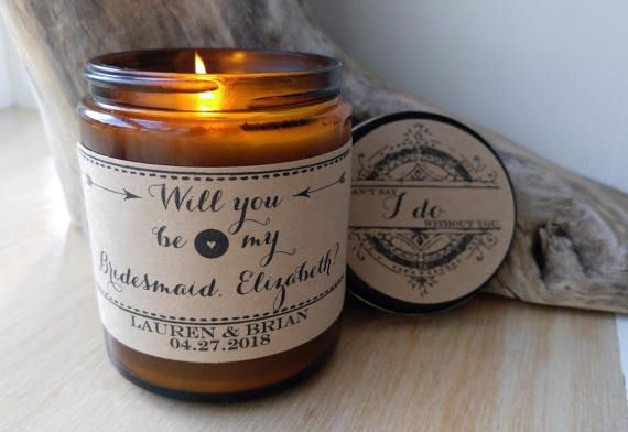 Will You Be My Bridesmaid Gift Custom Candle Message