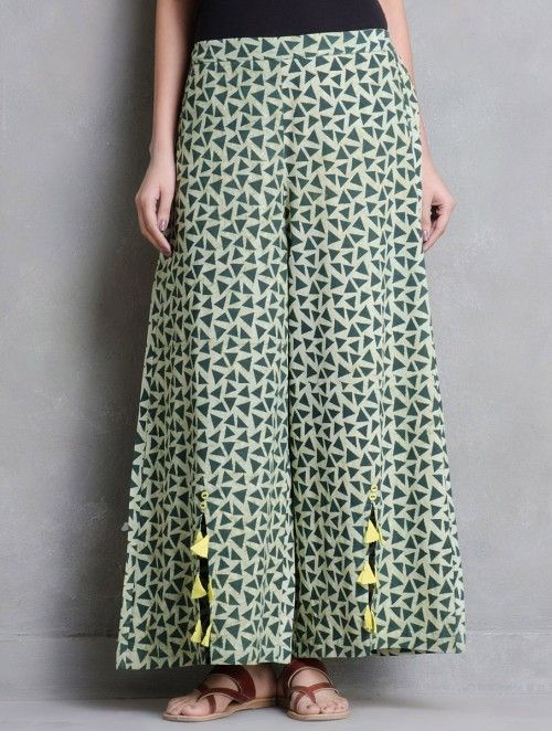 Green Dabu Printed Tassel Detail Elasticated Palazzos by Indian August