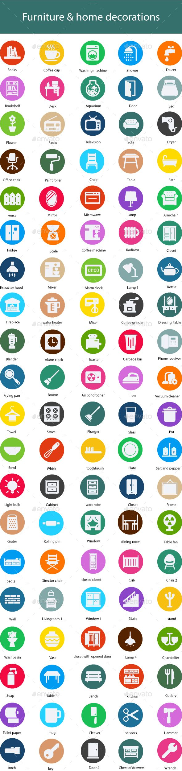#Furniture & home decorations Flat Glyph Icons - #Icons