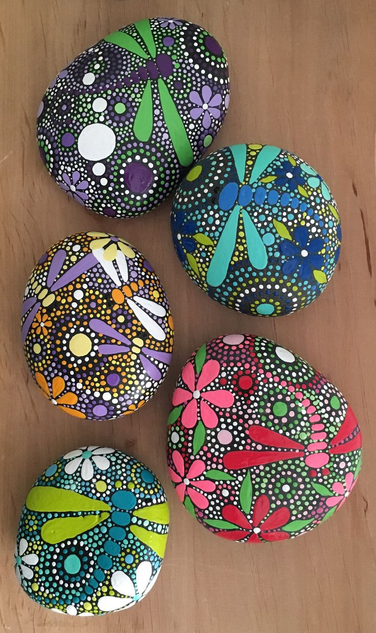 Dragonfly arts and crafts - Dragonfly Art On Hand Painted Stones By Ethereal And Earth Otherworldly And Of This World