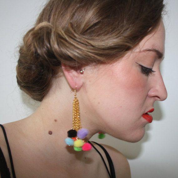 Pom pom earrings - fluffy earrings - purple black orange pink green yellow blue - handmade earrings - festival earrings - gold plated