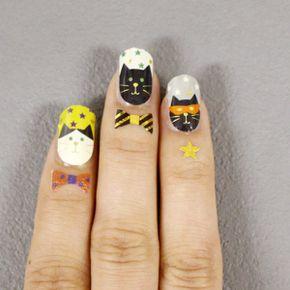 ネイル&タトゥーシールセットCATファミリー(GIFU)