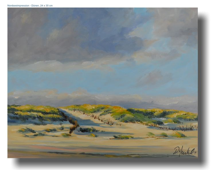 Northseeimpression with dunes, Oil painting on masonit board, 24 x 30 cm. One of my newest works. See more on www.rebecca-henkel.de and my shop: www.rebecca-henkel-shop