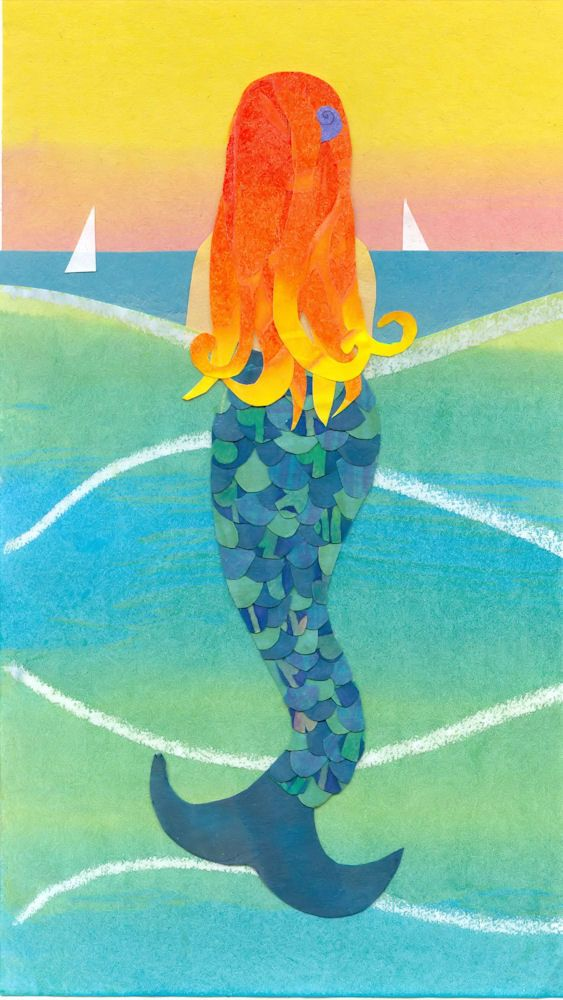 GULF MERMAID  Collage Art Reproduction  Mermaid with by artcollage