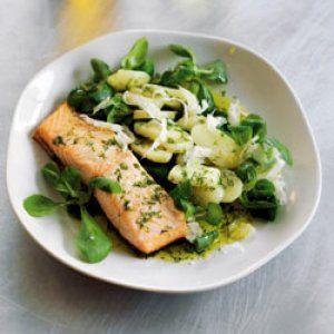 Sød-sur rapsoliedressing til laks og kartofler