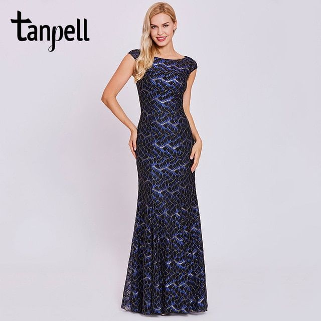 7baa8c9698 Tanpell lace mermaid evening dresses black hollow cap sleeveless ...