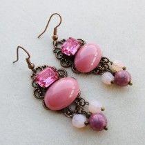 Victorian Cameo orecchini chandelier rame antico swarovski e cabochon rosa