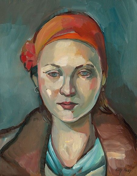 Girl with an Orange Scarf - Original 11x14 portrait in Oil by painter Suzy Keely, in her etsy shop - keelyart
