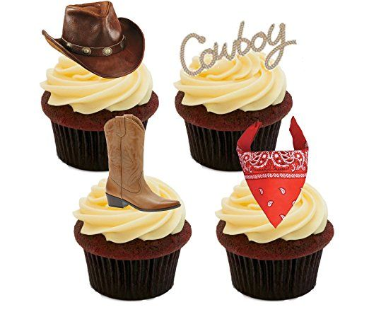 Cowboy / Western Edible Cupcake Toppers - Stand-up Wafer Cake Decorations (Pack of 12)