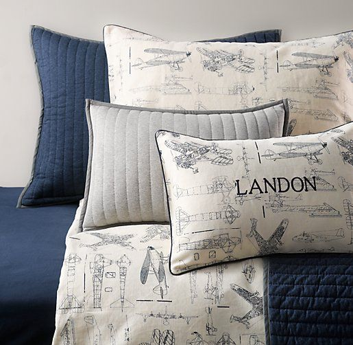 Vintage Airplane Blueprint & European Vintage Washed Percale Bedding Collection | Bedding Collections | Restoration Hardware Baby & Child