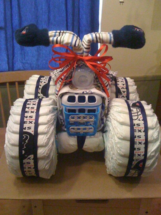 Made to order 4 Wheeler diaper cake by LonestarLinens on Etsy