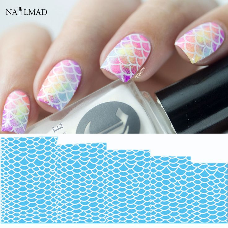1 sheet Fish Scale Nail Water Decals Scale Transfer Decals Flowers Nail Art