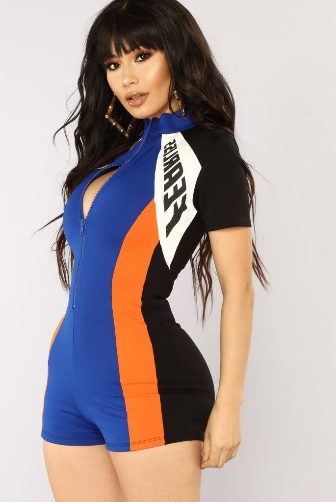 b5fa3827b8cd5 Fearless Colorblock Romper - Royal/Orange in 2019 | Fashion Nova ...