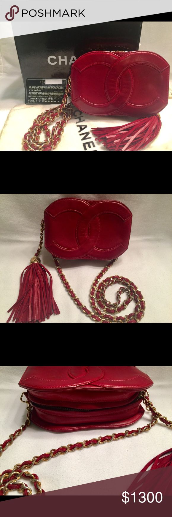 """100% Authentic Chanel purse bag fringe tassel Rare find. Gorgeous authentic vintage cc logo Chanel purse. 6.25"""" wide x 4.25"""" hight x 2"""" with purse, dust bag, box and authentic card. Red/maroon authentic sticker intact. Purse in great vintage condition. Inside black with whole sticker visible. Chain has some wear. See pics for condition. No trades. Price firm. CHANEL Bags"""
